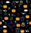 Seamless Halloween ghost bats pumpkins pattern o vector image