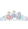 business meeting with chief - modern flat design vector image