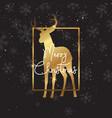 christmas background with gold deer silhouette vector image vector image