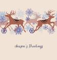 christmas deers linear pattern vector image