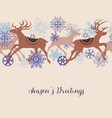 christmas deers linear pattern vector image vector image