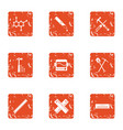 composite material icons set grunge style vector image vector image