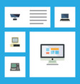 flat icon computer set of technology notebook vector image vector image