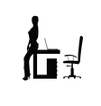 girl in office silhouette vector image vector image