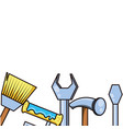 hammer with set tools isolated icon vector image