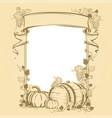 harvesting vintage frame vector image vector image