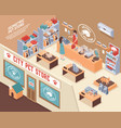 isometric pet shop composition vector image vector image