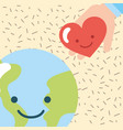 kawaii world and hand love heart donate charity vector image