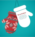 Knitted mittens Christmas background
