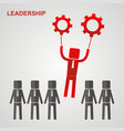 leadership concept - leader flies to the gears vector image vector image