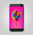 mobile phone with balloons branch gift or vector image