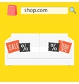 online shop sale banner with white sofa