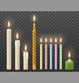 realistic burning candles set vector image vector image