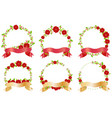 red christmas flower and ribbon wreath banner vector image