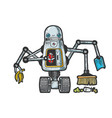 robot garbage scavenger sketch engraving vector image vector image