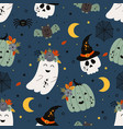 seamless pattern with pumpkin ghost scull and b vector image