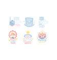 set cute pink and blue lettering and images vector image