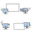 set of monitor character with pose board laptop vector image vector image
