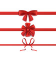 set three red silk ribbons with bows realistic vector image vector image
