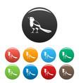 strange magpie icons set color vector image
