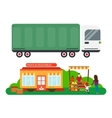 Street seller with stall fruits and truck cargo vector image vector image