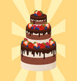 three-tier cake with chocolate and cream layers vector image vector image