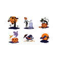 traditional design elements of halloween set vector image vector image