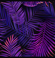 tropical neon palm leaves seamless pattern floral vector image vector image