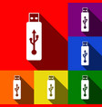 usb flash drive sign set of icons vector image vector image