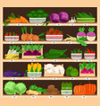 vegetables on shelves market vegetable stall with vector image vector image
