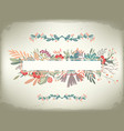 vintage romantic horizontal card with floral frame vector image