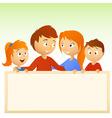 cartoon family holding blank sign vector image
