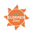 summer time logo design text written on cartoon vector image