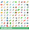 100 swap icons set isometric 3d style vector image