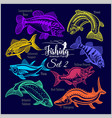american fish - set 2 for creative design vector image vector image