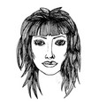 black and white sketch of a womans face vector image