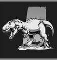 black white angry t rex dinosaur vector image