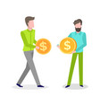 business idea people males with money coin vector image vector image