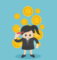 business woman losing his money business flat vector image vector image