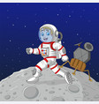 cartoon boy astronaut walking on moon vector image vector image