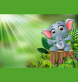 cartoon happy baby elephant sitting on tree stump vector image vector image