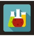 Chemical laboratory flasks icon in flat style vector image vector image