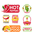 cinco de mayo mexican holiday food and drink icon vector image