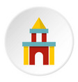 colorful castle toy blocks icon circle vector image vector image
