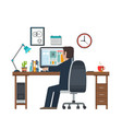 designer in the workplace workstation vector image vector image