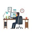 designer in workplace workstation vector image vector image