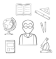 Education sketched design with school items vector image vector image