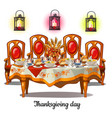 festive table with food on thanksgiving day vector image vector image