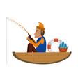 fisherman in boat vector image vector image
