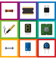 flat icon electronics set of resistor display vector image vector image